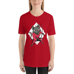 Fencing Cat Women's T-Shirt MatchingStyle.com Red S