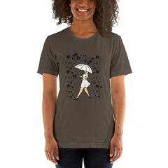 Girl With Umbrella Women's T-Shirt MatchingStyle.com Army S