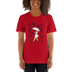 Girl With Umbrella Women's T-Shirt MatchingStyle.com Red S