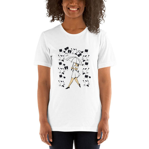 Girl With Umbrella Women's T-Shirt MatchingStyle.com White S