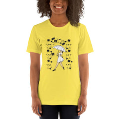 Girl With Umbrella Women's T-Shirt MatchingStyle.com Yellow S