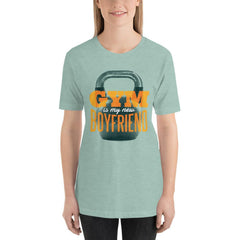 Gym is my new Boyfriend Women's T-Shirt MatchingStyle.com Heather Prism Dusty Blue S