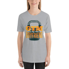 Gym is my new Boyfriend Women's T-Shirt MatchingStyle.com Silver S