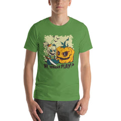 Halloween Evil Doll And Pumpkin Men's T-Shirt MatchingStyle.com Leaf S