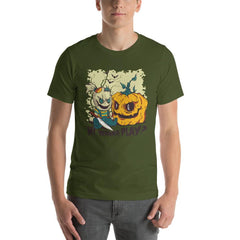 Halloween Evil Doll And Pumpkin Men's T-Shirt MatchingStyle.com Olive S