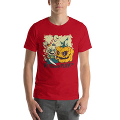 Halloween Evil Doll And Pumpkin Men's T-Shirt MatchingStyle.com Red S