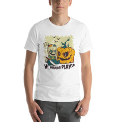 Halloween Evil Doll And Pumpkin Men's T-Shirt MatchingStyle.com White S