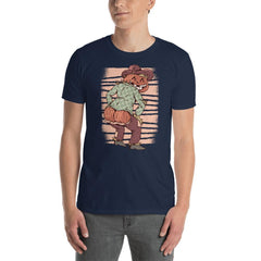 Halloween Scarecrow Pumpkin Men's T-Shirt MatchingStyle.com Navy S