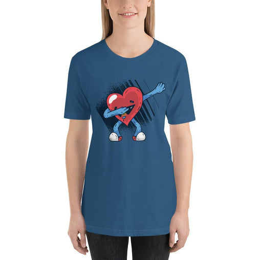 Heart Dabbing Women's T-Shirt MatchingStyle.com Steel Blue S