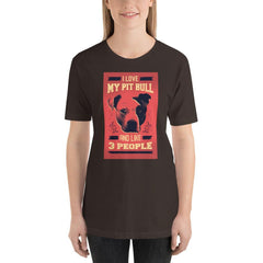 I Love My Pit Bull And Like 3 People Women's T-Shirt MatchingStyle.com Brown S