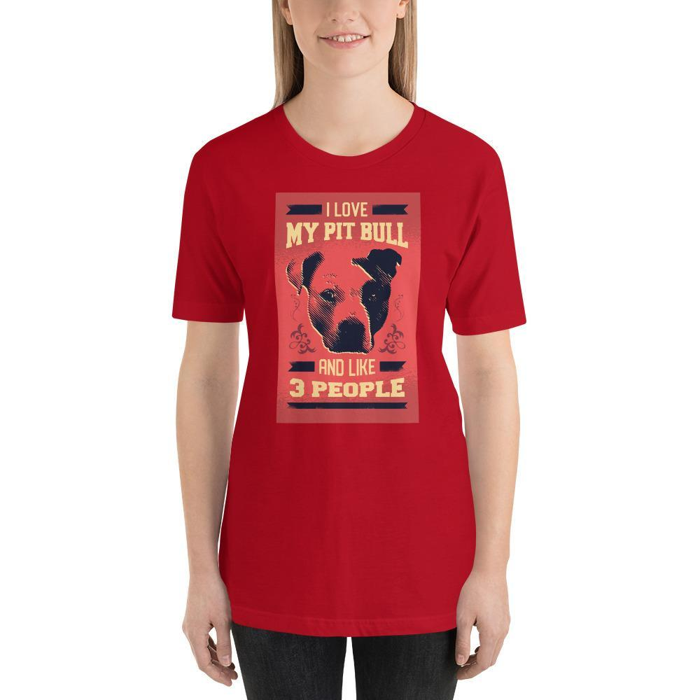 I Love My Pit Bull And Like 3 People Women's T-Shirt MatchingStyle.com Red S