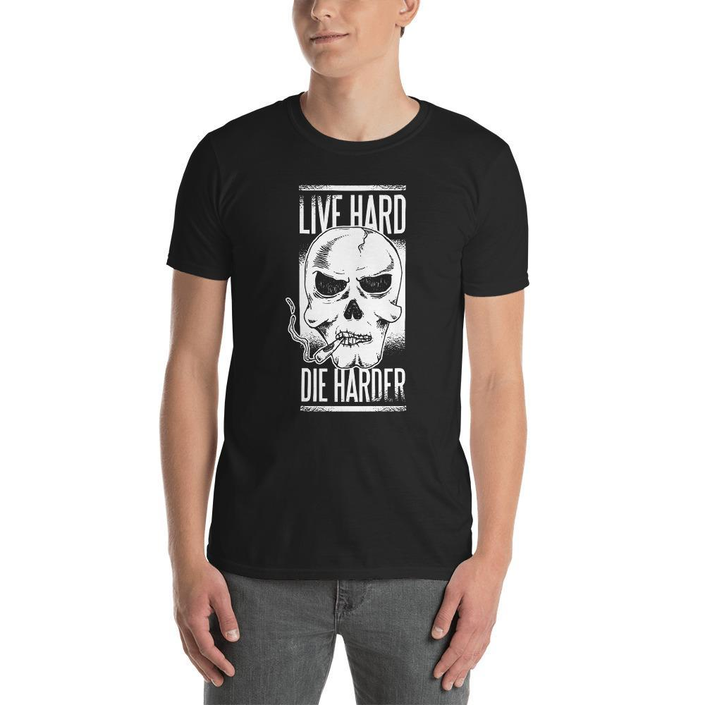 Live Hard Die Harder Smoking Skull Men's T-Shirt MatchingStyle.com Black S