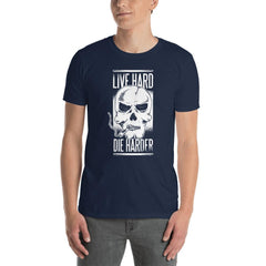 Live Hard Die Harder Smoking Skull Men's T-Shirt MatchingStyle.com Navy S