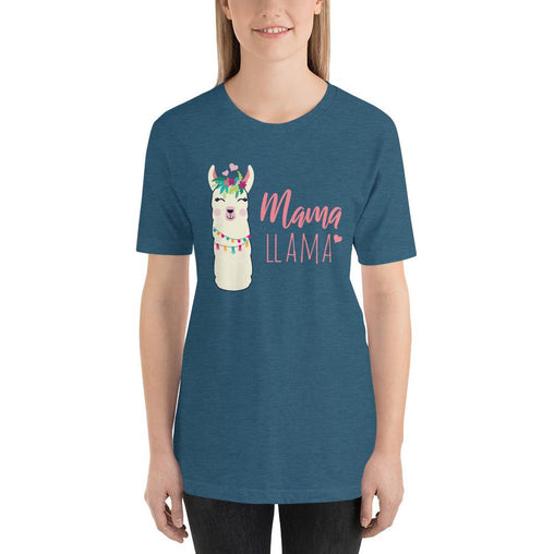 Mama Llama Women's T-Shirt MatchingStyle.com Heather Deep Teal S