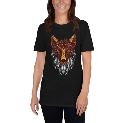 Mandala Fox Women's T-Shirt MatchingStyle.com Black S