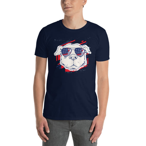 American Pit Bull Dog With Sunglasses Men's T-Shirt