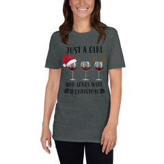 Girl Who Loves Wine At Christmas Women's T-Shirt