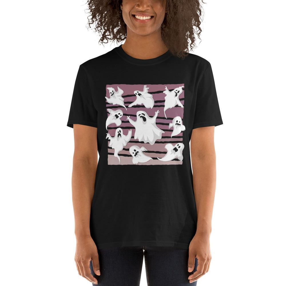 Nine Ghosts Halloween Women's T-Shirt MatchingStyle.com Black S