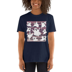 Nine Ghosts Halloween Women's T-Shirt MatchingStyle.com Navy S
