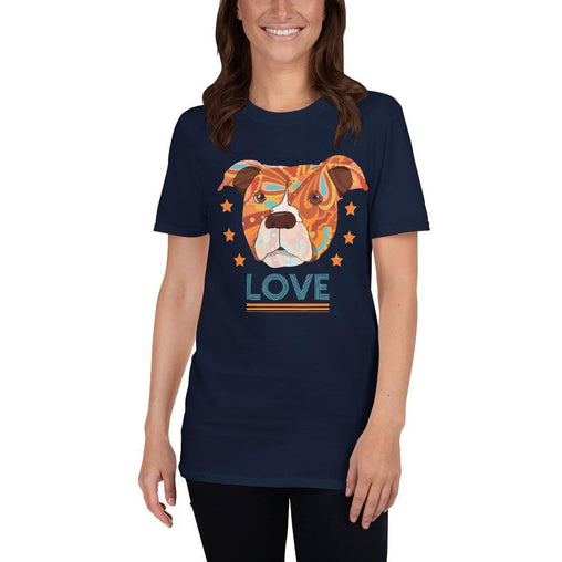 Pit Bull Terrier Head Love Dog Women's T-Shirt MatchingStyle.com Navy S