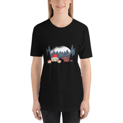 Santa and Reindeer Women's T-Shirt MatchingStyle.com Black S