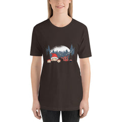Santa and Reindeer Women's T-Shirt MatchingStyle.com Brown S