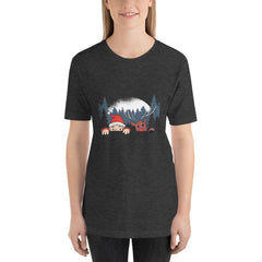 Santa and Reindeer Women's T-Shirt MatchingStyle.com Dark Grey Heather S