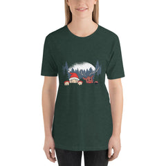 Santa and Reindeer Women's T-Shirt MatchingStyle.com Heather Forest S