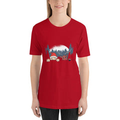 Santa and Reindeer Women's T-Shirt MatchingStyle.com Red S