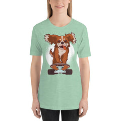 Skating Dog Women's T-Shirt MatchingStyle.com Heather Prism Mint S