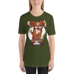 Skating Dog Women's T-Shirt MatchingStyle.com Olive S