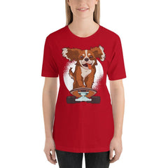 Skating Dog Women's T-Shirt MatchingStyle.com Red S
