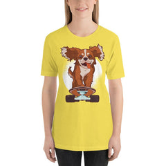 Skating Dog Women's T-Shirt MatchingStyle.com Yellow S