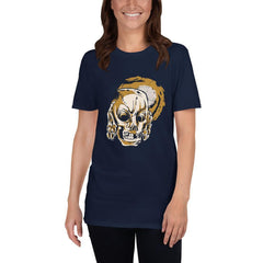 Skull Covering Ears Women's T-Shirt MatchingStyle.com Navy S