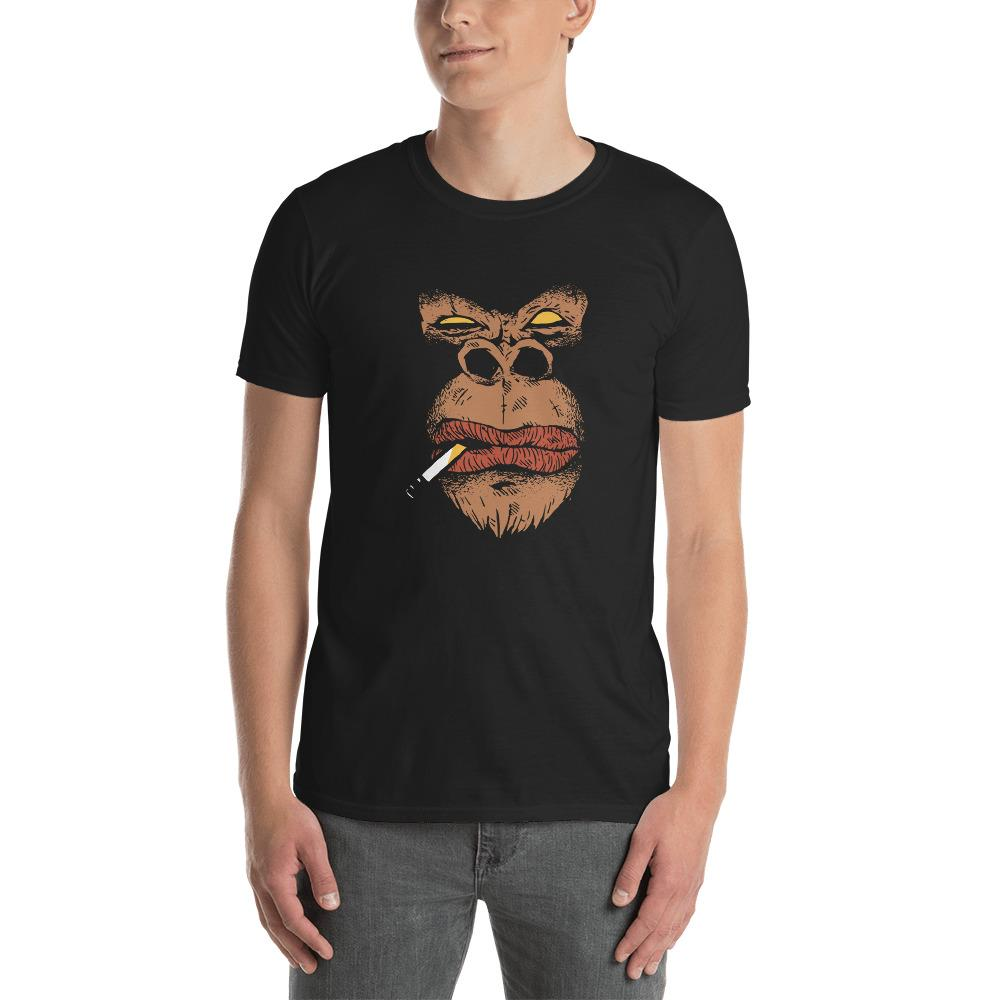 Smoking Angry Gorilla Men's T-Shirt MatchingStyle.com Black S