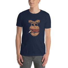 Smoking Angry Gorilla Men's T-Shirt MatchingStyle.com Navy S