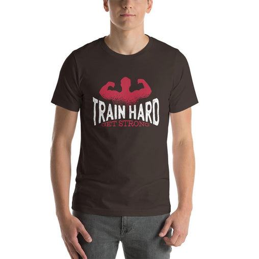 Train Hard, Get Strong Men's T-Shirt MatchingStyle.com Brown S