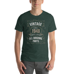 Vintage 1948 Limited Edition All Original Parts Men's T-Shirt MatchingStyle.com Heather Forest S