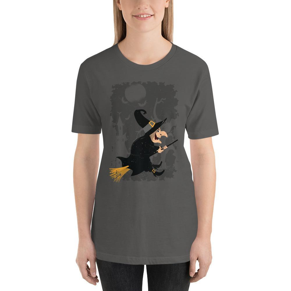 Vintage Witch Cartoon Halloween Women's T-Shirt MatchingStyle.com Asphalt S