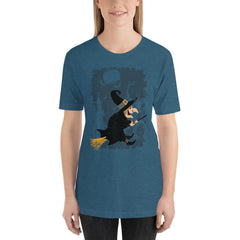 Vintage Witch Cartoon Halloween Women's T-Shirt MatchingStyle.com Heather Deep Teal S