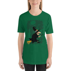 Vintage Witch Cartoon Halloween Women's T-Shirt MatchingStyle.com Kelly S