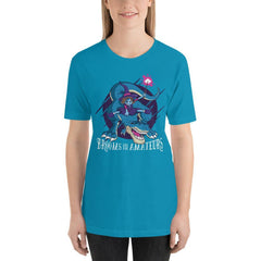 Witch On T-Rex Funny Halloween Women's T-Shirt MatchingStyle.com Aqua S