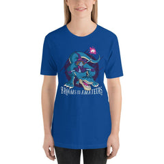 Witch On T-Rex Funny Halloween Women's T-Shirt MatchingStyle.com True Royal S