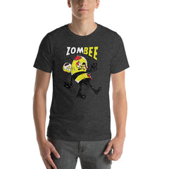 Zombie Bee Scary Halloween Men's T-Shirt MatchingStyle.com Dark Grey Heather S