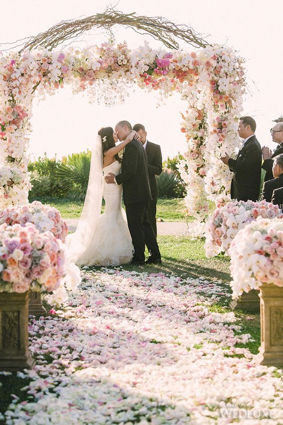 pink wedding gate