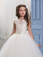 Elegant Long Flower Girl Dress A Line Lace Pageant Dresses MFD010