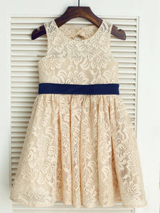Short Champagne Lace Flower girl Dress little Baby Princess Ball Gown ASD070