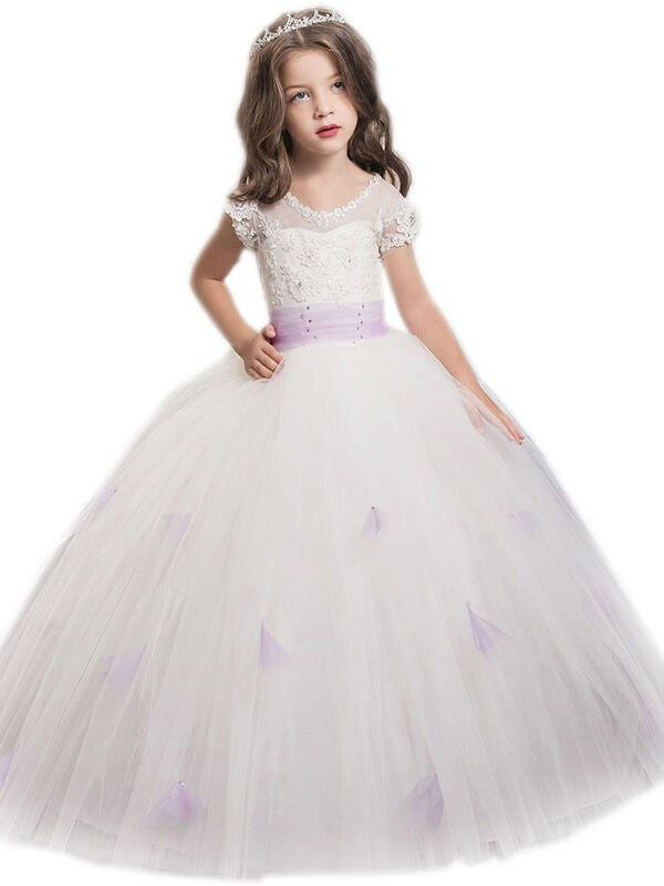 Kids Princess Ball Gown Puffy Flower Girl Dresses Pageant Dress ALD076