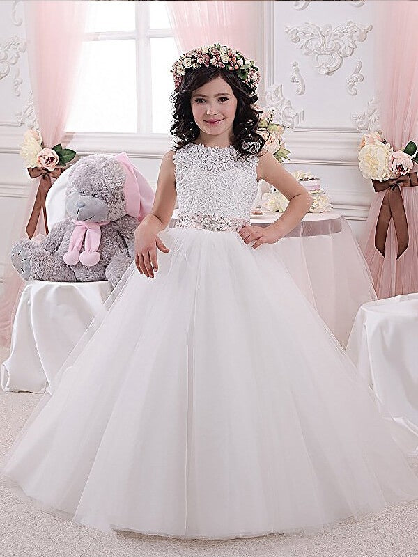 White Ivory Lace A Line Flower Girl Dress Princess Pageant Gown PFD068