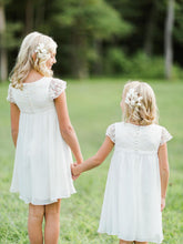 Vintage White Ivory Flower Girl Dresses Lace First Communion Dress ASD098